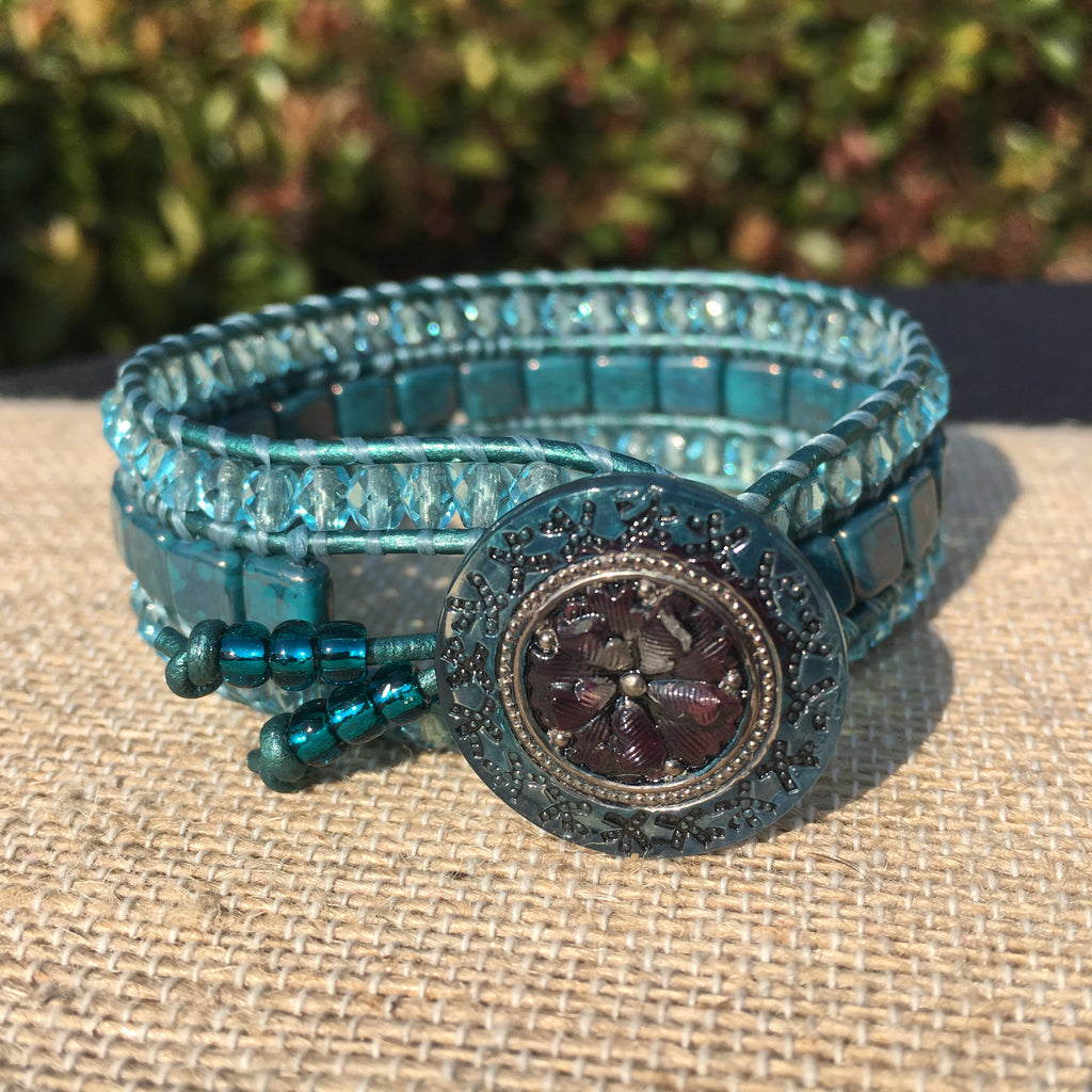 3-Row Santa Fe Cuff - Czech Glass - Turquoise tones