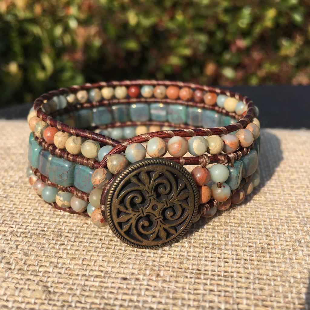 3-Row Santa Fe Cuff - African Opal Version 2