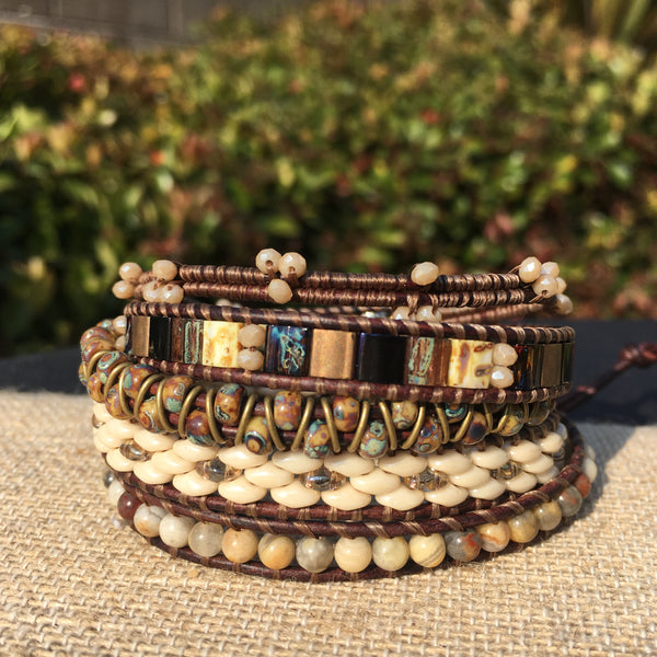 5-wrap Bracelet - Fancy Neutrals on Brown #2