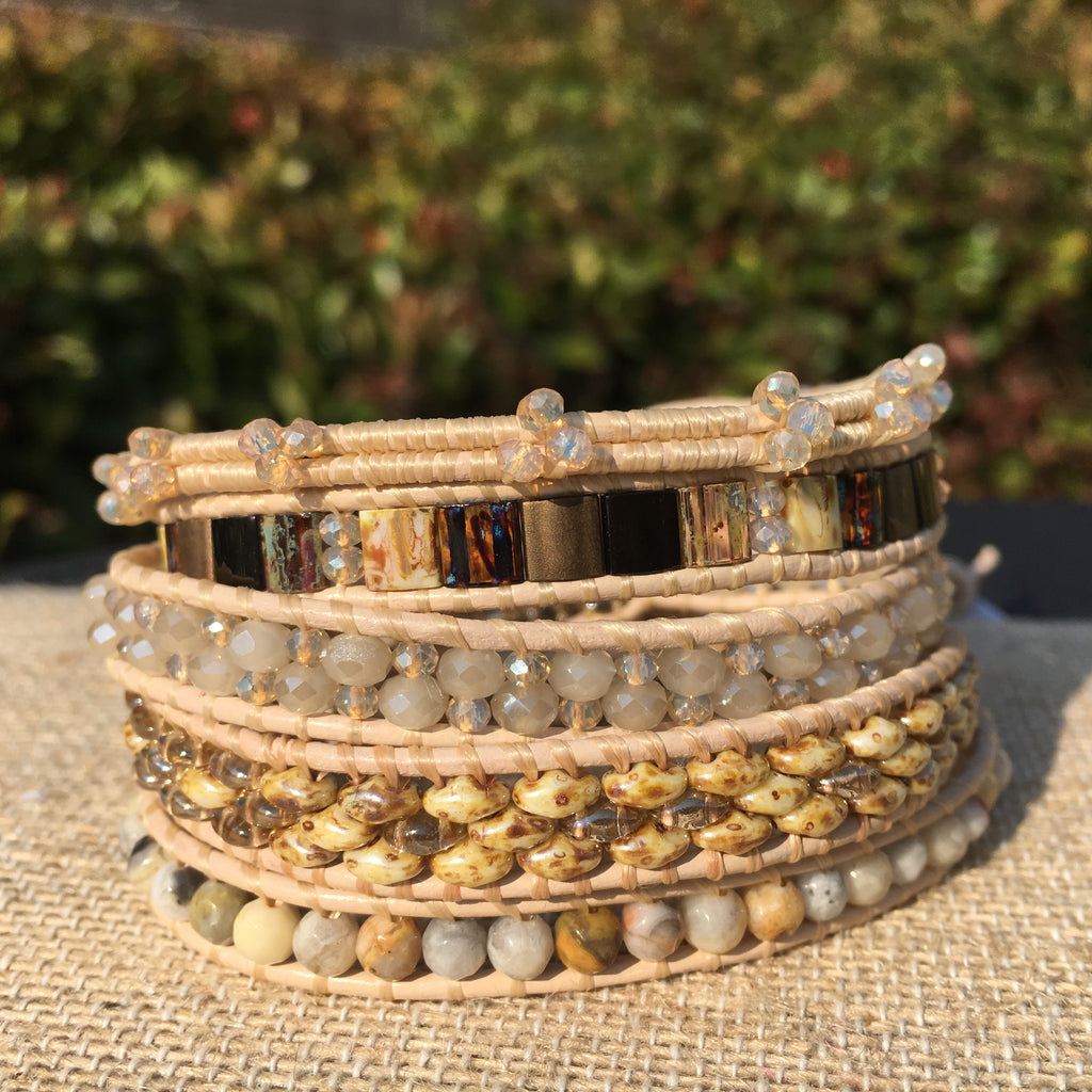 5-wrap Bracelet - Fancy Neutrals on Petal Leather