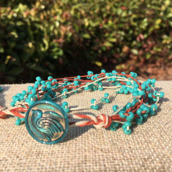 Bird's Nest Bracelet - Turquoise and Orange #2