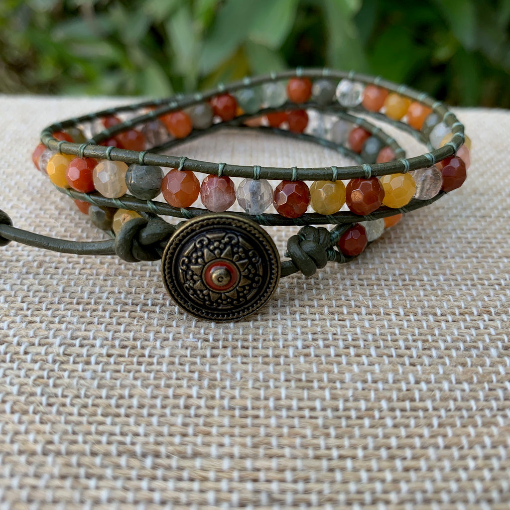 2-Wrap Bracelet - Multi Color Rhutilated Quartz