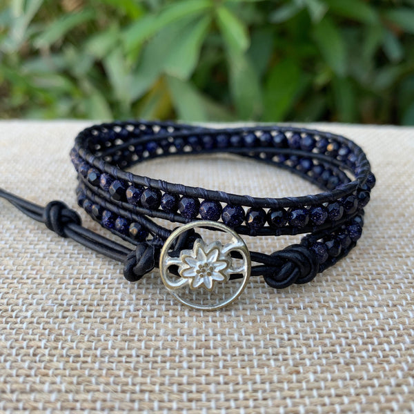 2-Wrap Bracelet - Blue Goldstone