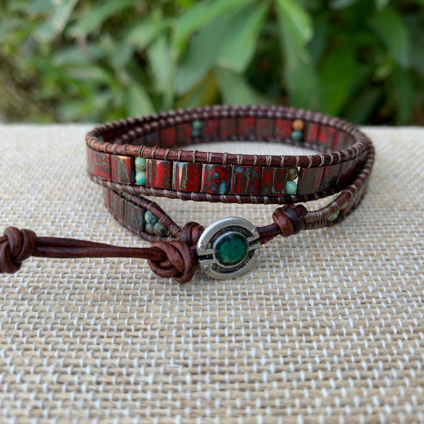 2-Wrap Bracelet - Red Picasso Tila Beads with Turquoise Beads #3