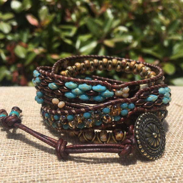 5-wrap Bracelet - Fancy Bronze and Turquoise Mix