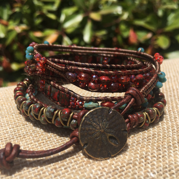 5-wrap Bracelet - Fancy Bronze, Red and Turquoise Mix
