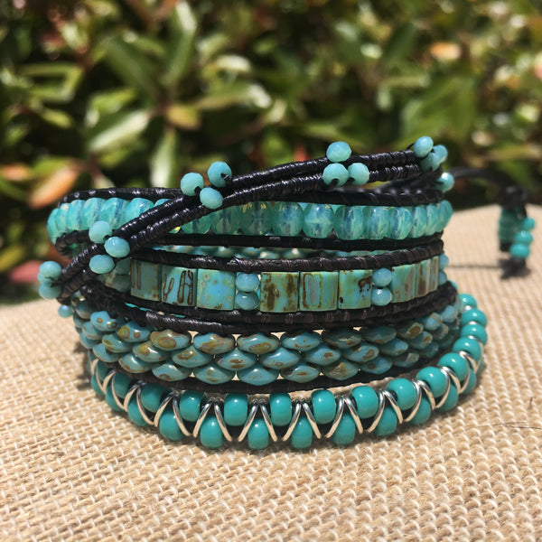 5-wrap Bracelet - Fancy shades of Turquoise