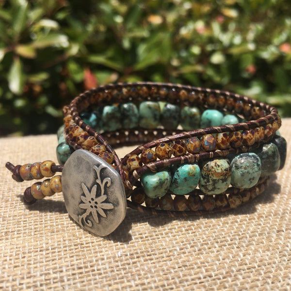 3-Row Santa Fe Cuff - African Turquoise