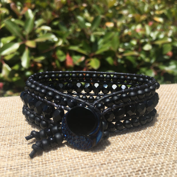 3-Row Santa Fe Cuff - Black on Black