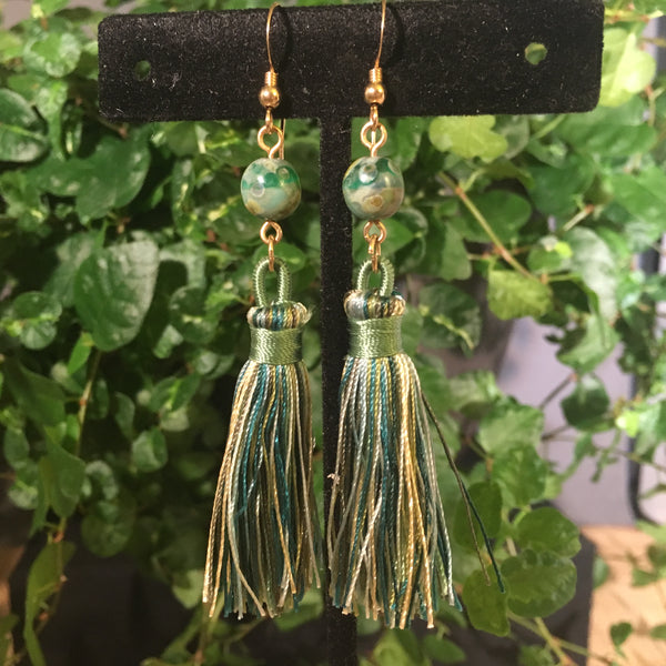 Nylon Tassel Earrings -  Shades of Green