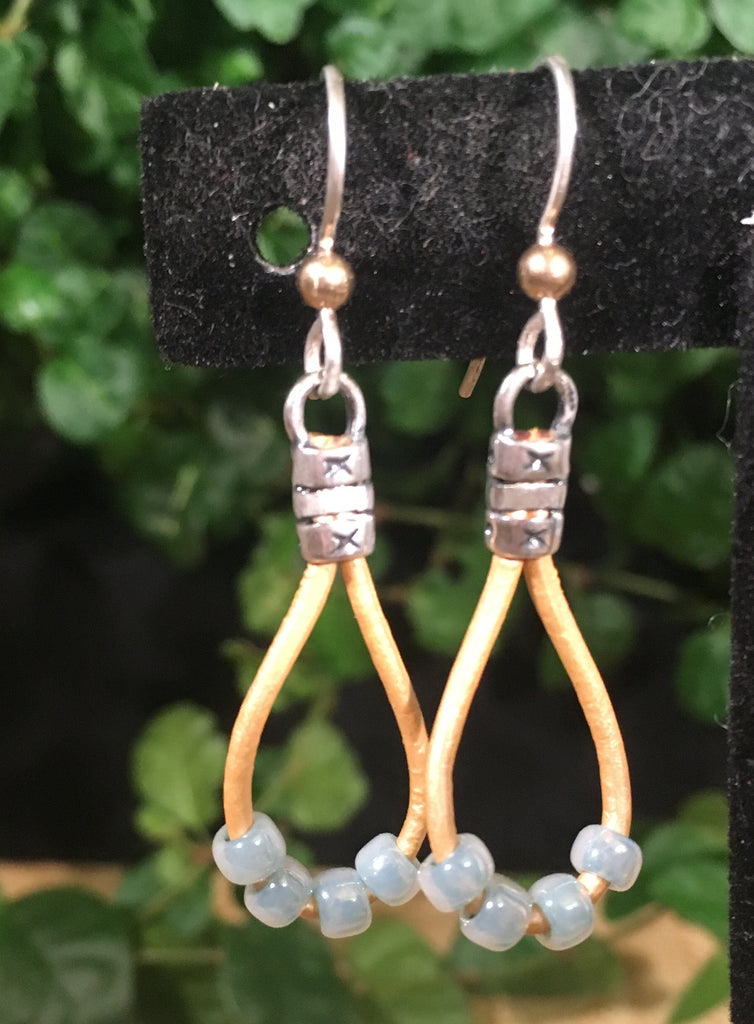 Leather Teardrop Earrings -Gold Leather with Minty Seed Beads