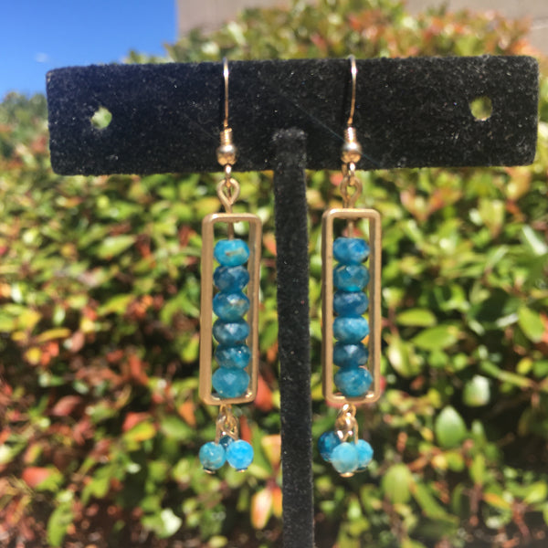 Gold framed Apatite Earrings