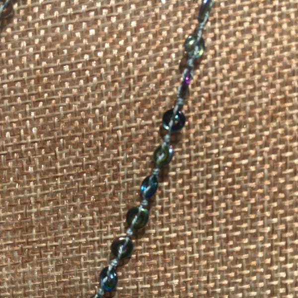 Double Trouble Necklace - Tiny Glass O Beads - Magic Blue