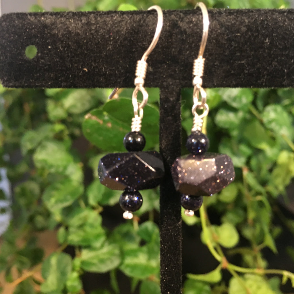 Blue Goldstone Drop Earrings