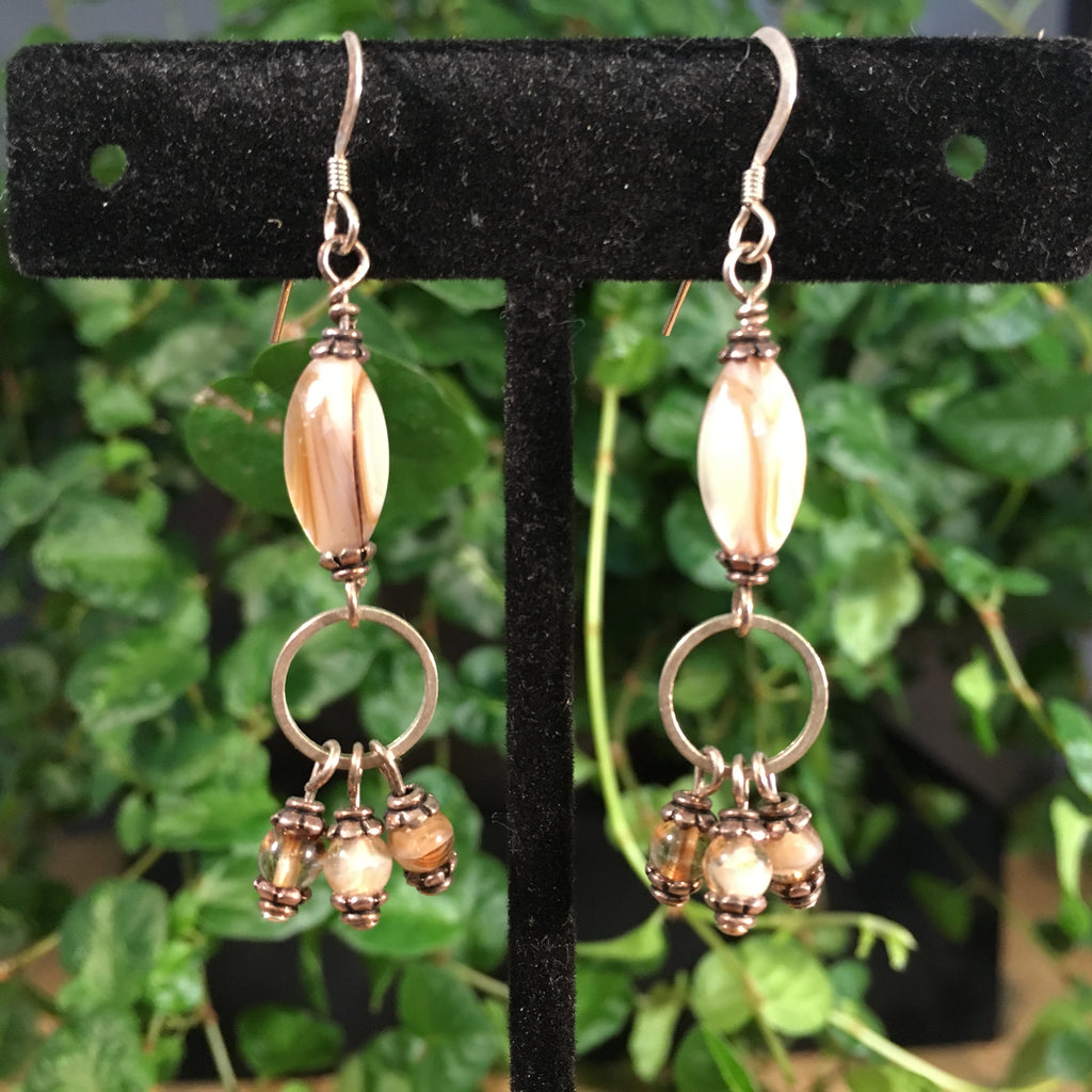 Shell and Glass Drop Earrings