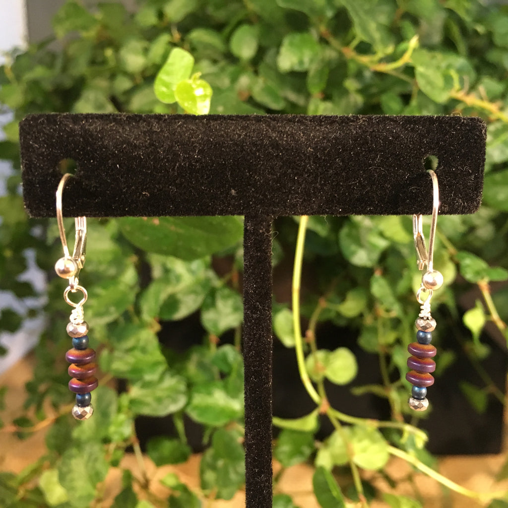Blue and Purple Hematite Drop Earrings
