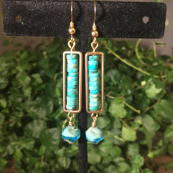 Gold framed Aqua (Dyed) Impression Jasper Drop Earrings
