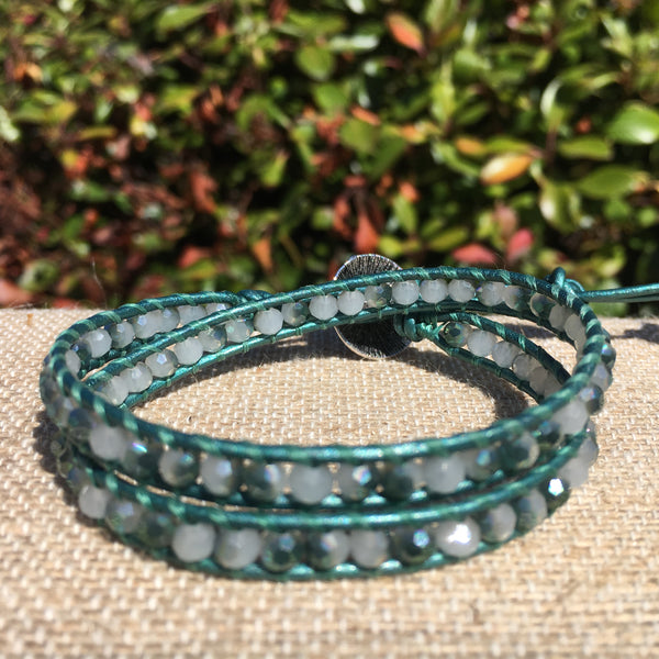 2-Wrap Bracelet - White and Green Crystals