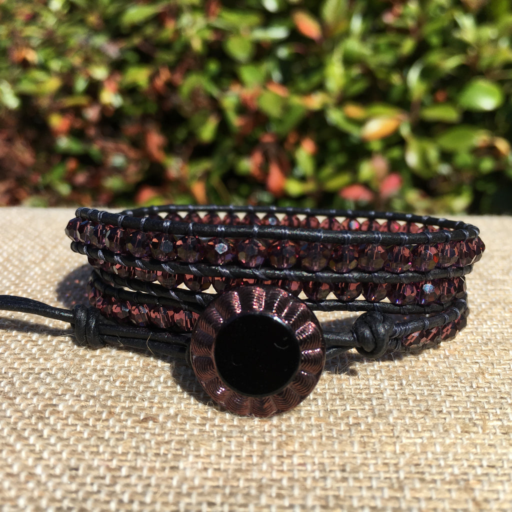 3-Wrap Bracelet -  4mm plum/maroon Chinese Crystal