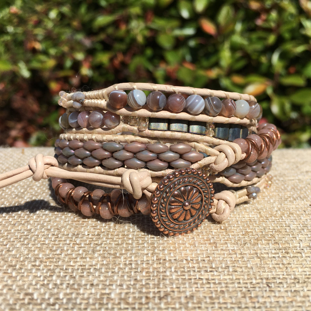 5-wrap Bracelet - Fancy Grey/Peach
