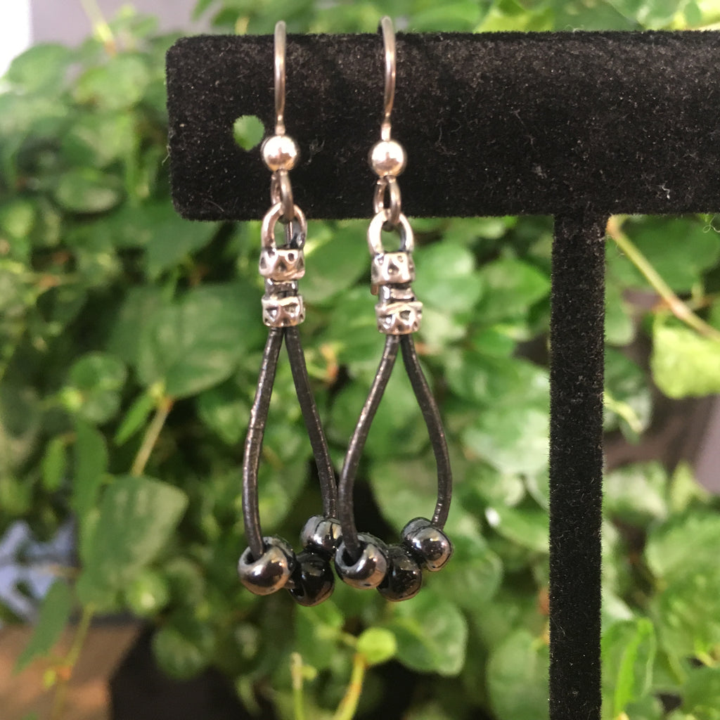 Leather Teardrop Earrings - Gunmetal with Black