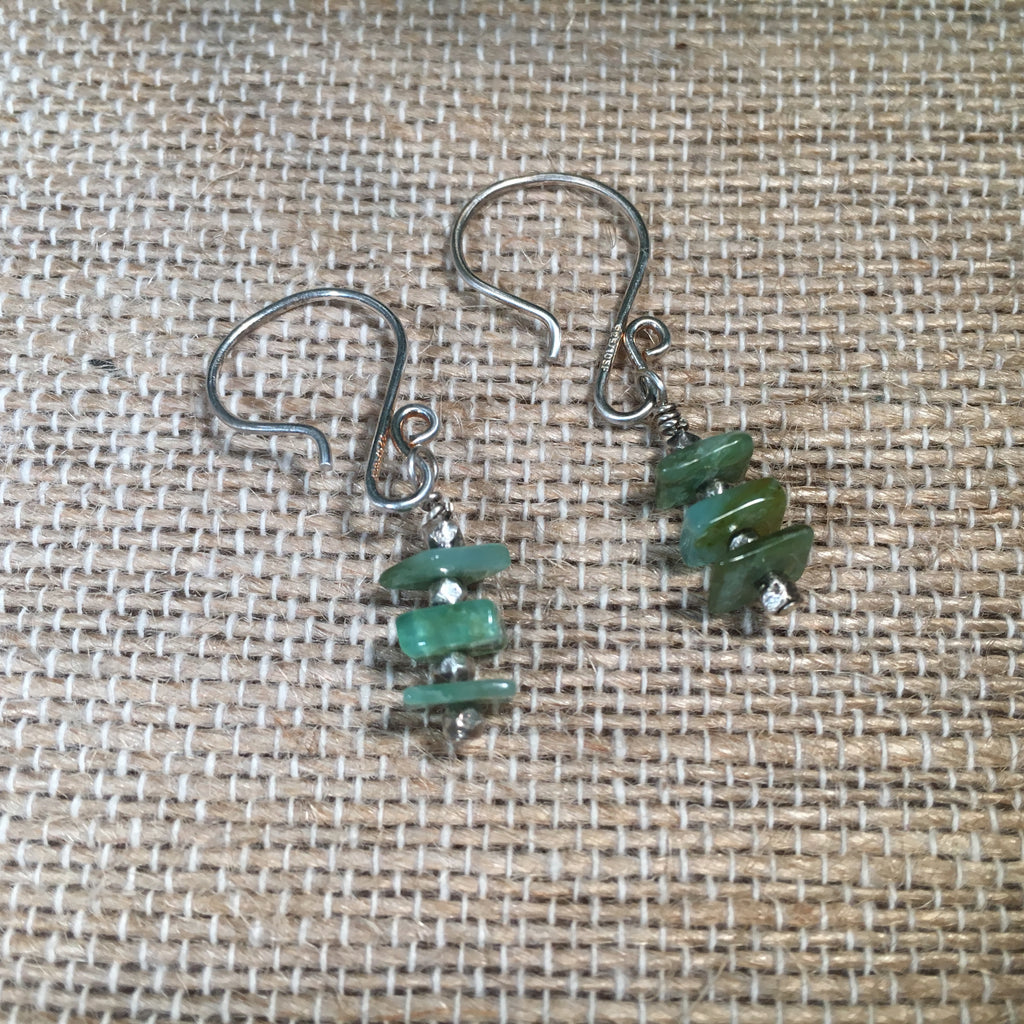 Green Peruvian Opal Drop Earring #1