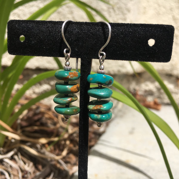 Natural Turquoise Heishi Drop Earrings