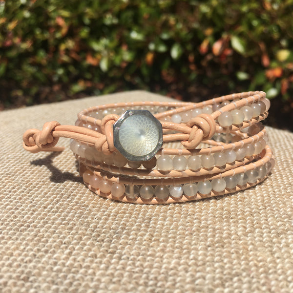 3-Wrap Bracelet - Mixed Moonstone