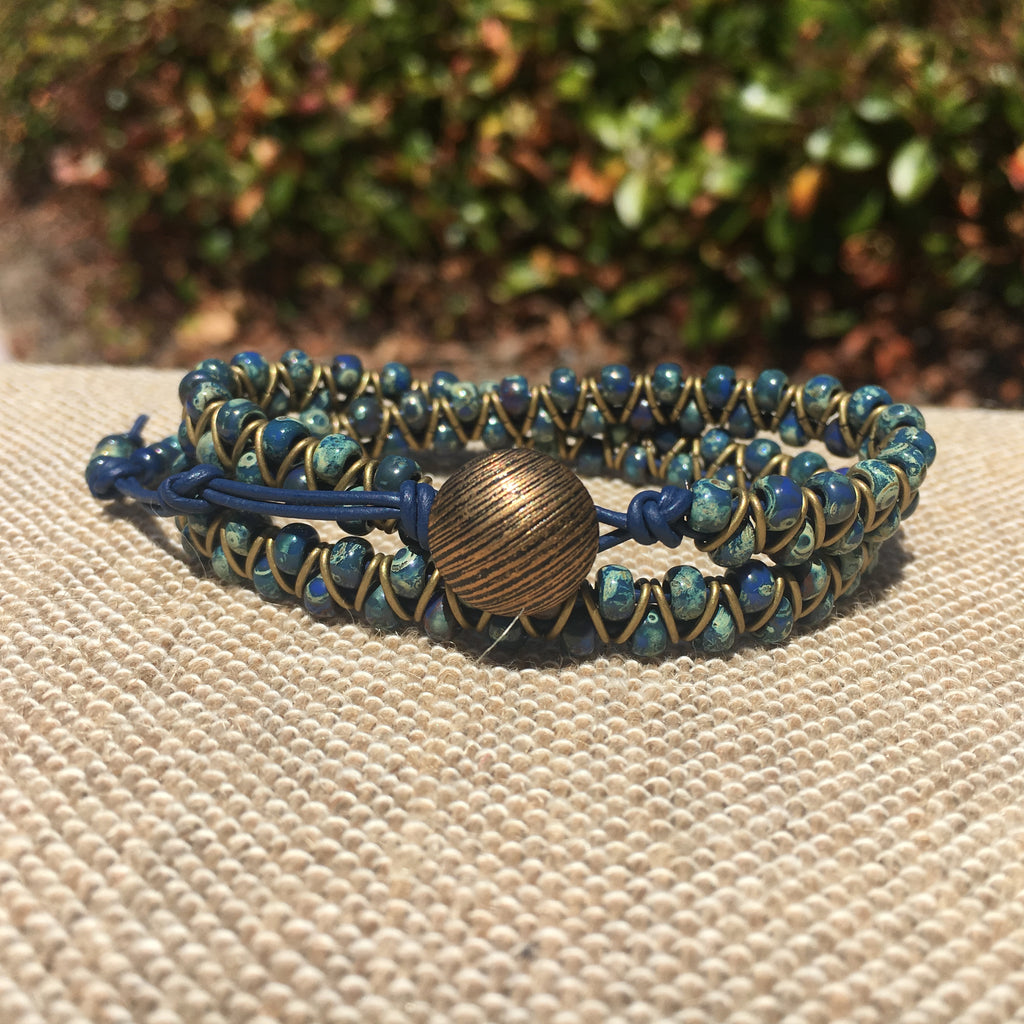 2-wrap  Bracelet - Jump Ring Seed Bead Stone Blue Picasso #3