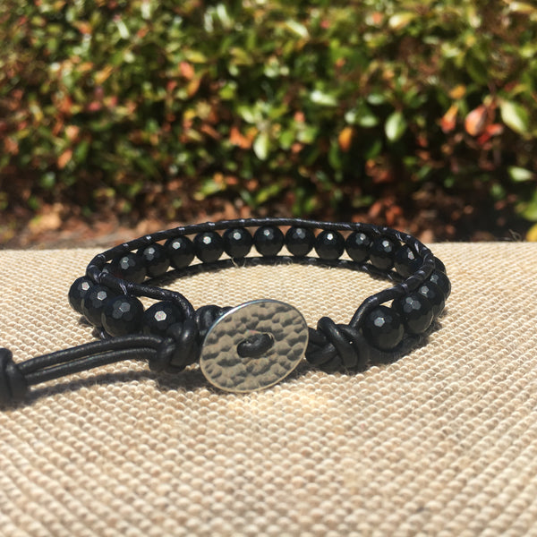 Single Wrap - Unisex/Men's - Matte Black Agate #1