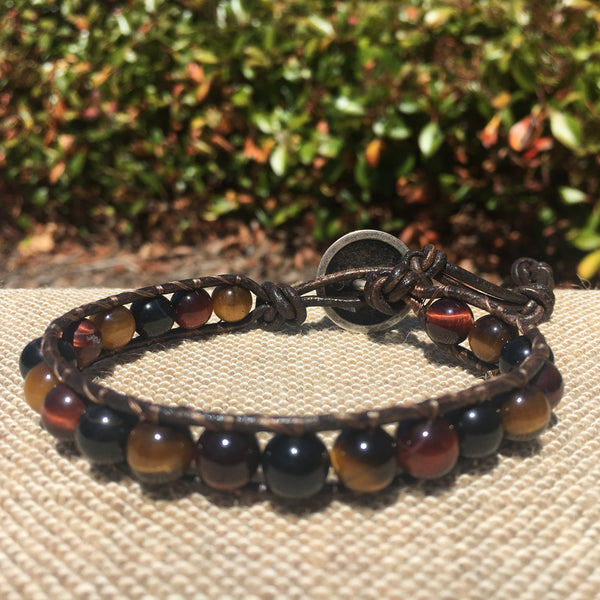 Single Wrap - Unisex/Men's - Multi Color Tiger Eye - Brown Leather