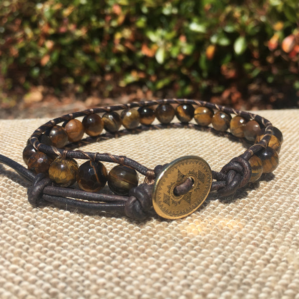 Single Wrap - Unisex/Men's - Faceted Tiger Eye Bracelet