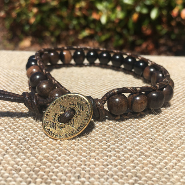 Single Wrap - Unisex/Men's-Tiger Ebony Wood Beads