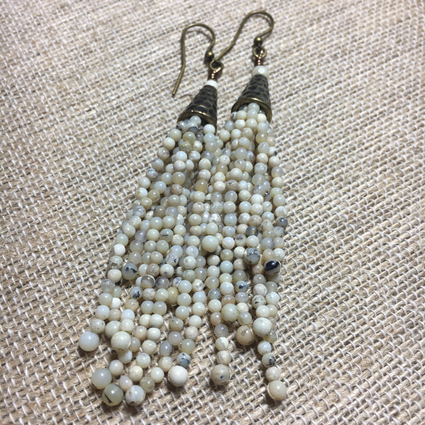 Seed Bead Tassel Earrings -  White Aftican Opal Stones