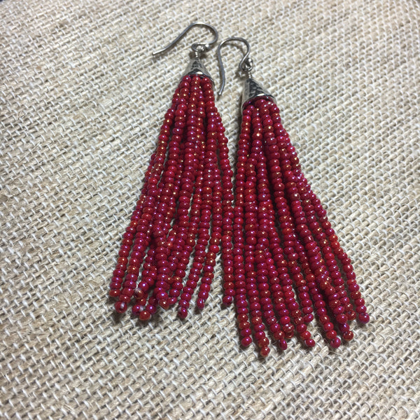 Seed Bead Tassel Earrings -  Fuscia