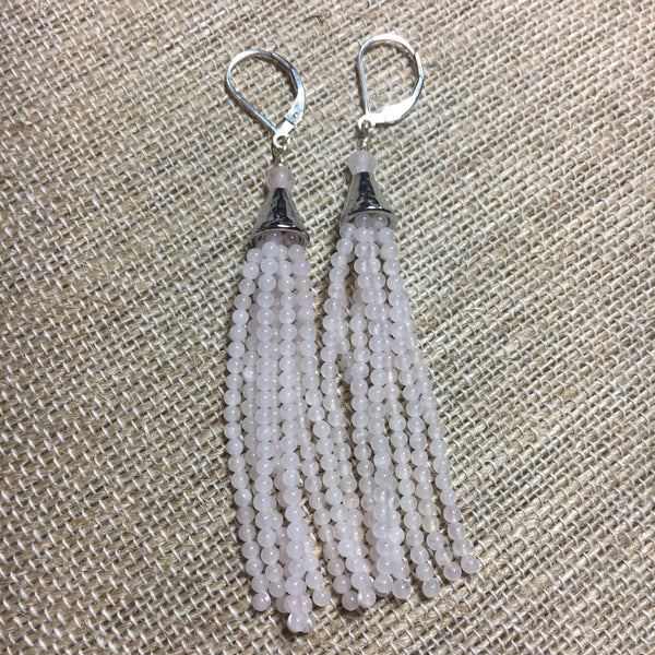 Seed Bead Tassel Earrings -  Rose Quartz