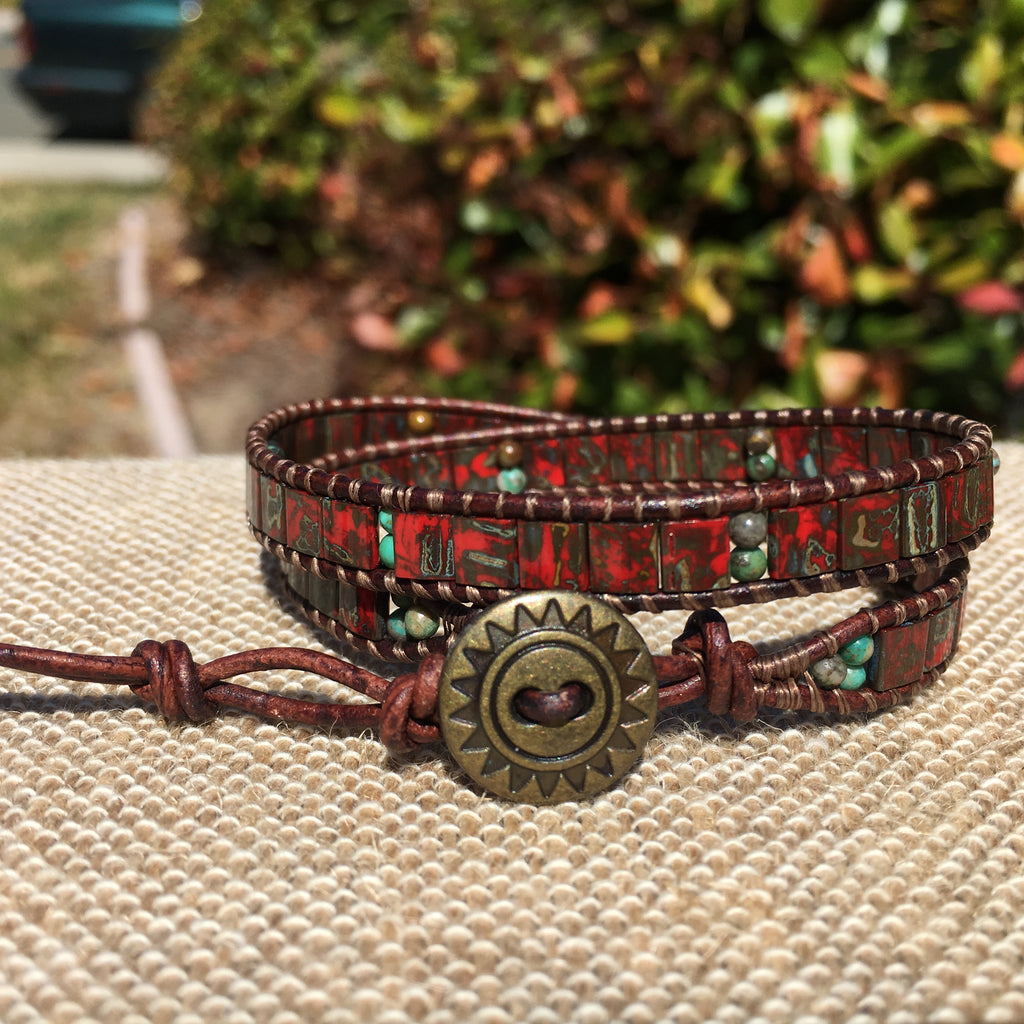 2-Wrap Bracelet - Red Picasso Tila Beads with Turquoise beads
