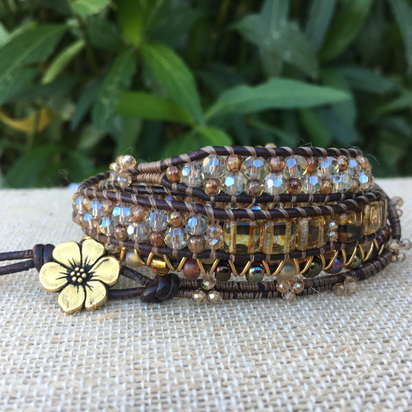 5-wrap Bracelet - Fancy Gold Tones