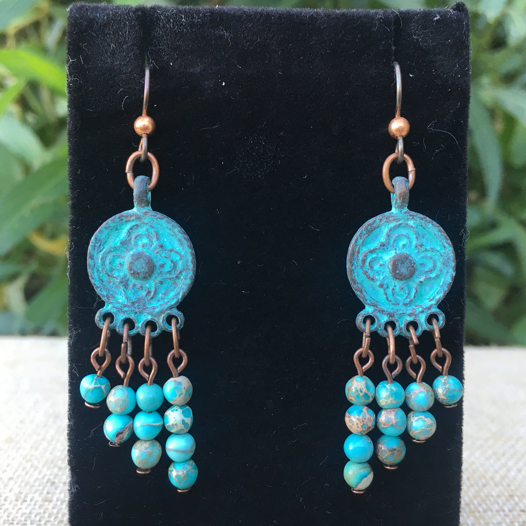 Patina Copper Medallion Earring with Aqua Impression Jasper