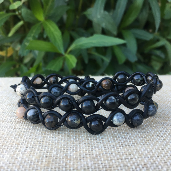 2-Wrap Bracelet - Braided Leather and Black Silver Leaf Jasper