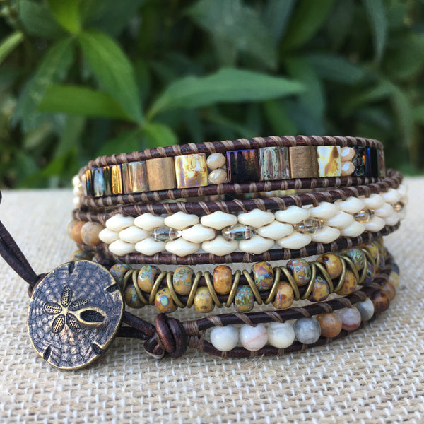 4-wrap Bracelet - Fancy Neutrals on Brown