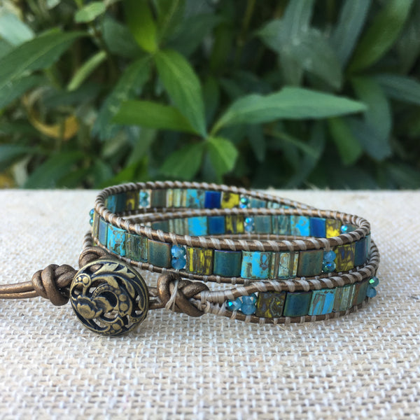 2-Wrap Bracelet - Peacock Tila Beads #4