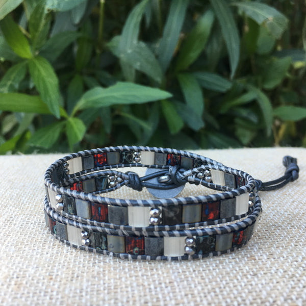 2-Wrap Bracelet - Grey Mix Tila Beads