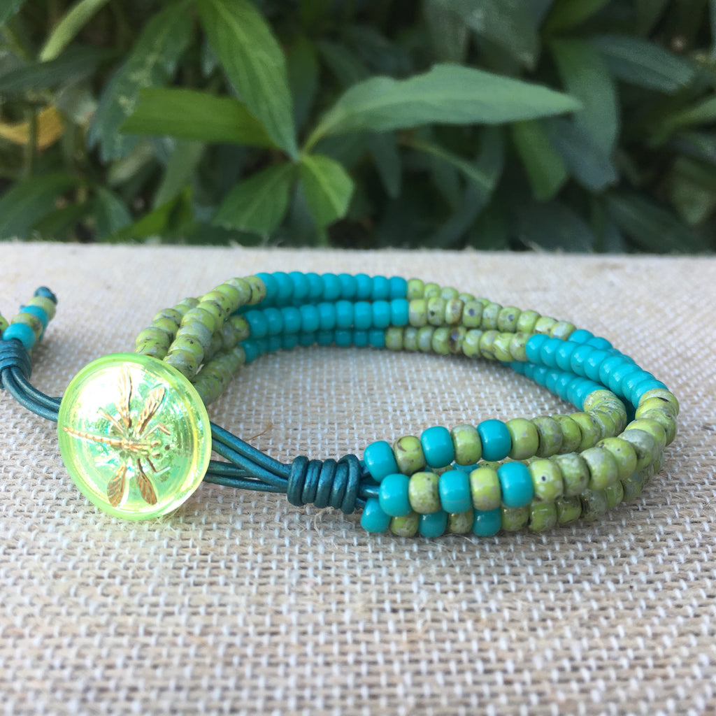 4 Strand Seed Bead Bracelet - Turquoise and Olive Picasso