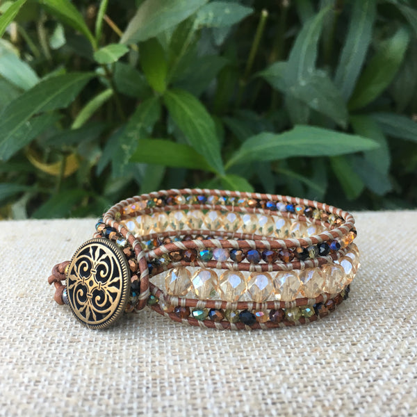 3-Row Santa Fe Cuff -  Czech Glass and Crystal