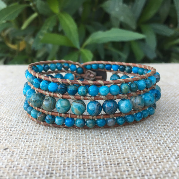 3-Row Santa Fe Cuff - Blue Crazy Lace Agate #2