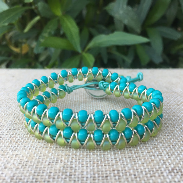 2-wrap  Bracelet - Jump Ring Seed Bead Chartreuse & Turquoise #2