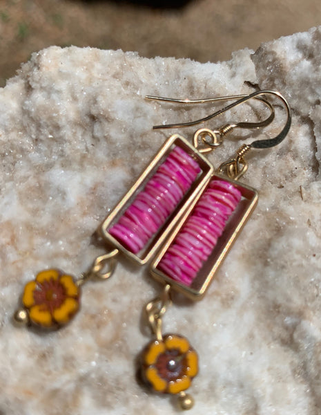 Framed Shell Earrings - Bright Pink and Yellow