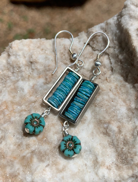 Framed Shell Earrings - Turquoisey