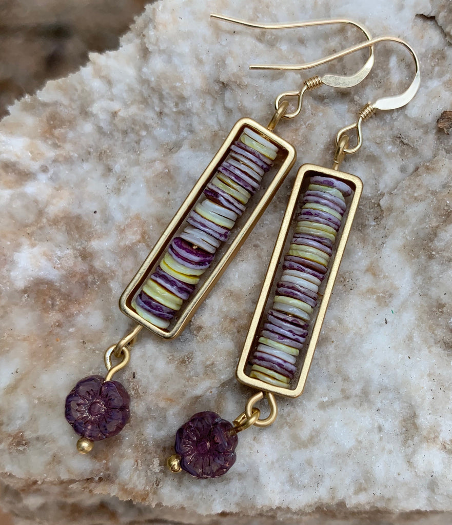 Framed Shell Earrings - Lavender and gold